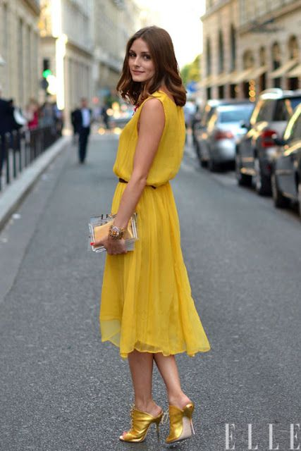 : Oliviapalermo, Summer Dresses, Yellow Dresses, Street Style, Olivia Palermo, The Dresses, Chiffon Dresses, Mustard Yellow, Gold Shoes