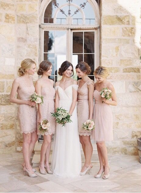 Blush is such a typical bridesmaid dress colour nowadays, but the way they're rocking it totally makes up for it (: