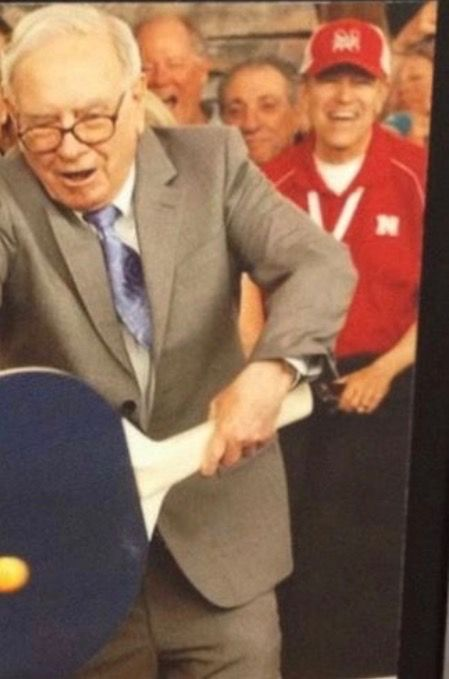 Pictured used for  Bill with tie given to him by Robert and Joyce for being best man at their wedding 6/3/2017.  Tie has a picture of Warren Buffett playing ping pong with Bill in the background.
