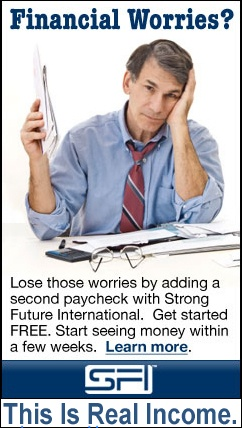 Lose those worries by adding a second paycheck with Strong Future International. Get started FREE. Worried about your paycheck? join now at http://www.sfi4.com/13167016/first