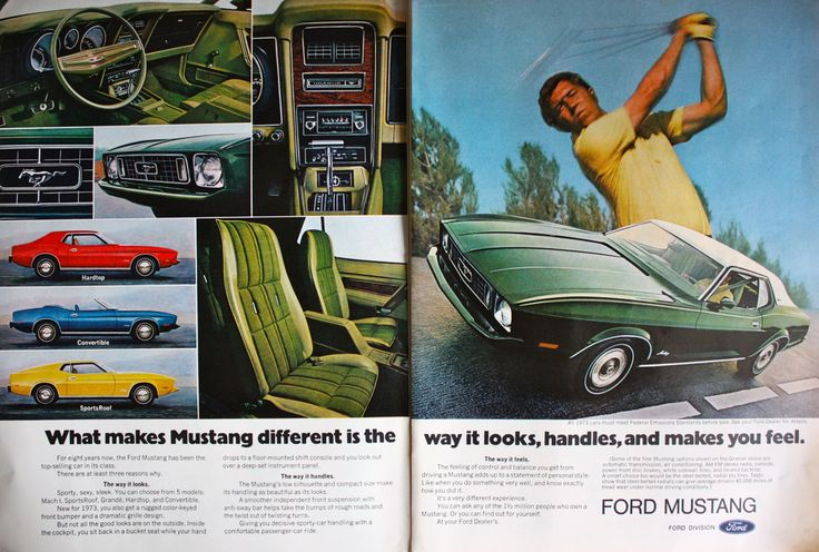 1973 ad Ford Mustang Car Convertible Hardtop Sports Roof