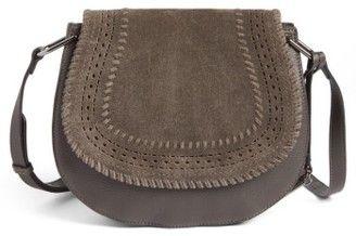 Vince Camuto Kirie Suede & Leather Crossbody Saddle Bag - Grey #handbags