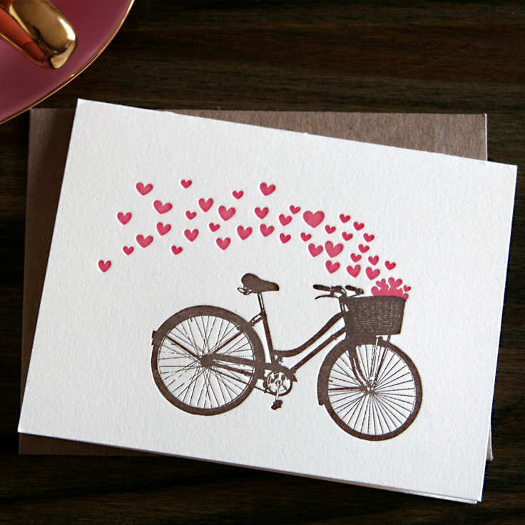 bicycle love note letterpress card by Papersheep Press via http://ohsobeautifulpaper.com/2012/01/a-few-favorite-valentines-day-cards-part-4/ #stationery #hearts #cards
