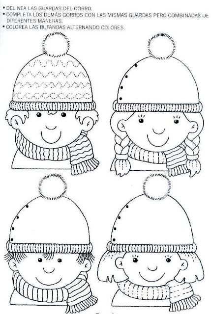 Winter beanie hat & kids tracing page ❄️☃️