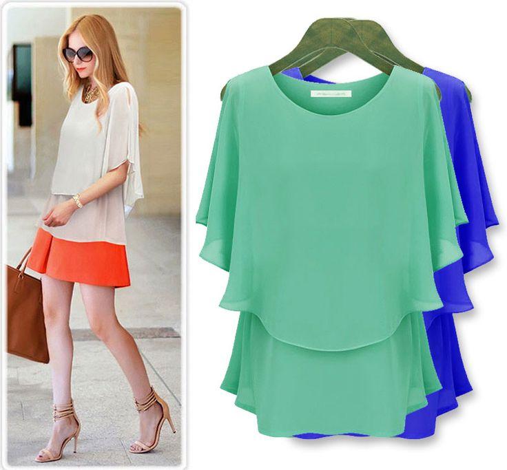 Plus size clothing summer chiffon shirt plus size sunscreen short-sleeve top cool big size fat no problem