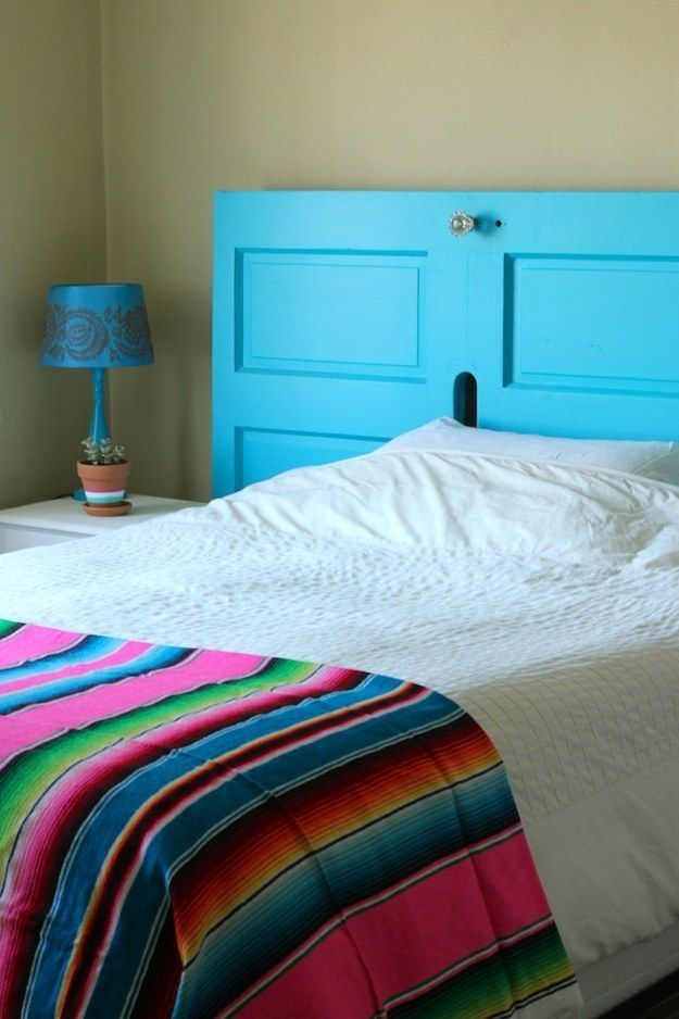 OR, dumpster-dive for an old door, and paint it a fun color.   33 Gorgeous DIY Projects To Decorate Your Grown Up Apartment