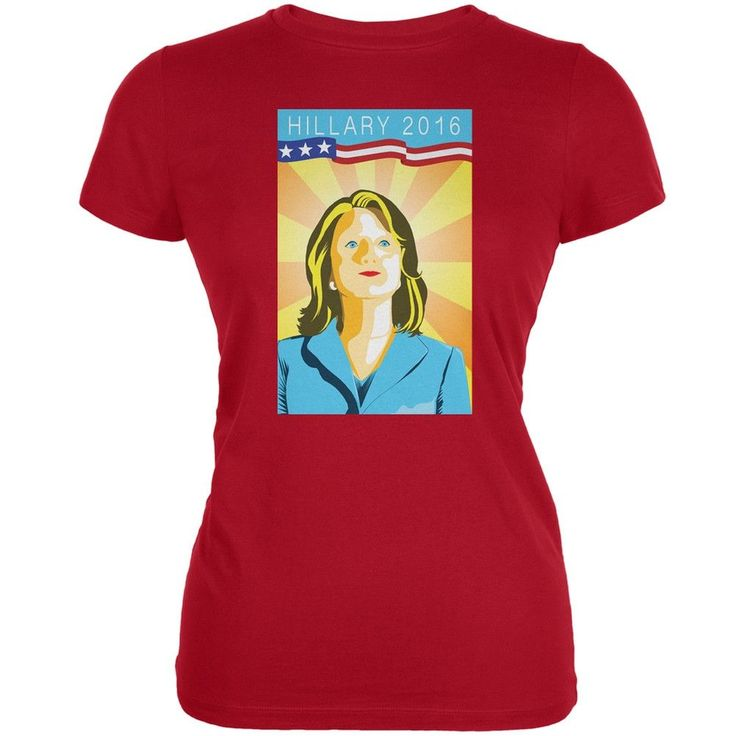 Election Hillary Clinton Poster Red Juniors Soft T-Shirt