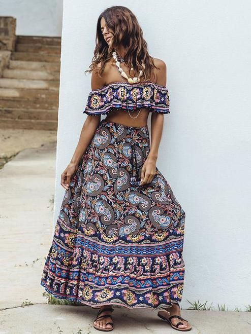 Hippy Cotton Dress BoHo Dress Or Long Skirt Festival Dress 2 in 1