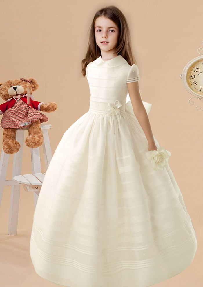 Nectarean Ball Gown High Neck Short Sleeve Bow(s) Floor-length Organza Communion Dresses