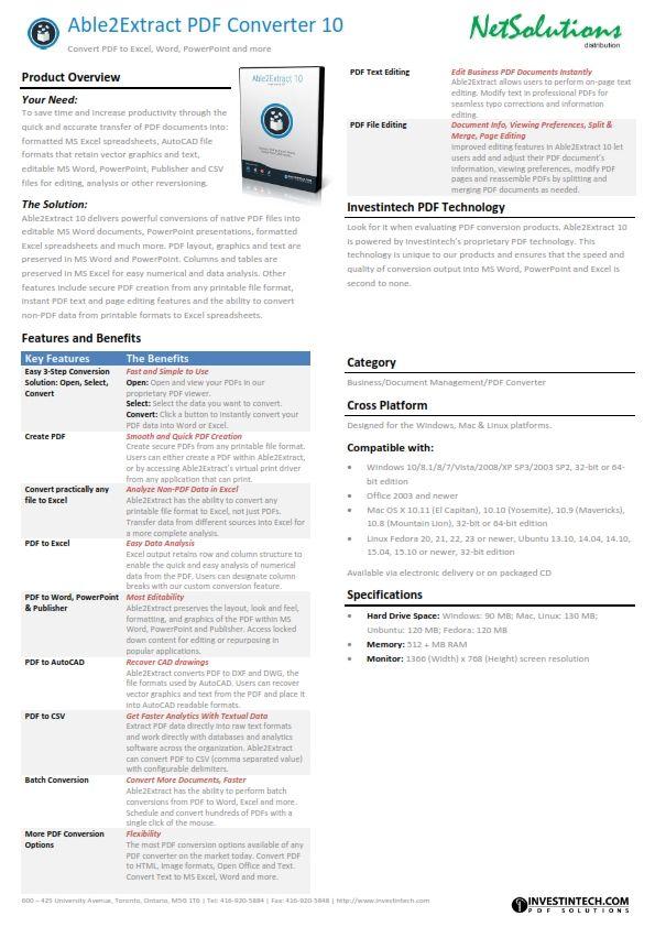 PT. #Netsolutions Infonet Able2Extract PDF Converter 10 #Investintech