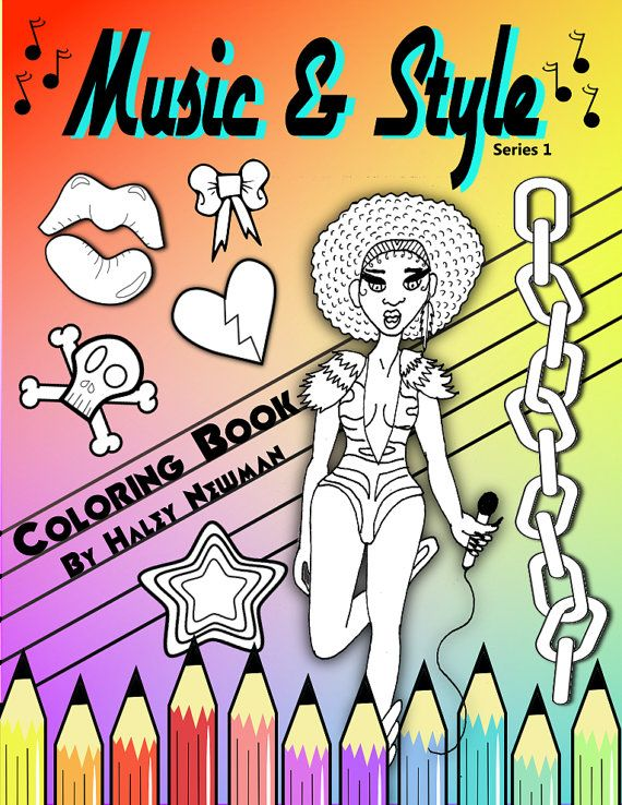 Music and Style Fashion Coloring Book for by AccidentallyAwesome