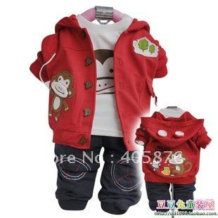Cute Monkey 3 pieces (T shirts + Jacket + Pants) Baby Boy / Infant Newborn Baby Clothing sets Free Shipping-in Clothing Sets from Apparel & Accessories on Aliexpress.com