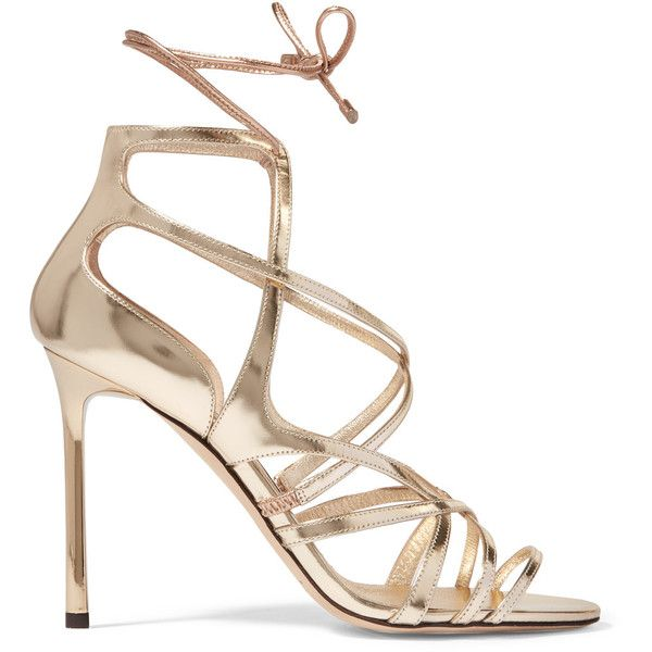 Jimmy Choo Tess metallic leather sandals (€385) ❤ liked on Polyvore featuring shoes, sandals, jimmy choo, gold, jimmy choo shoes, metallic strappy sandals, leather strap sandals, strappy high heel sandals and jimmy choo sandals