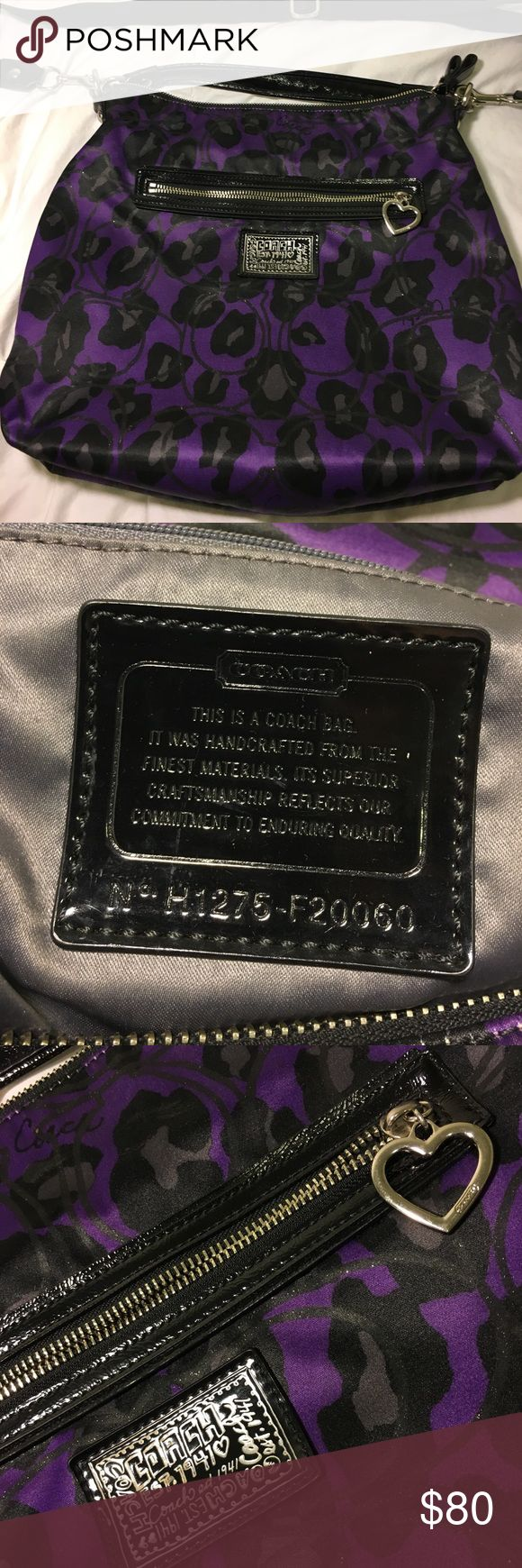 Royal Purple Coach Bag Deep purple Coach messenger bag, used twice. Has 3 pockets inside, one zip pocket outside, and the attachable strap. No scuffs, scratches or marks. Super cute with any outfit! Coach Bags Crossbody Bags