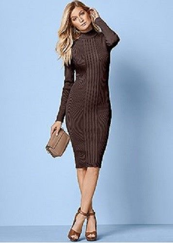 VENUS Womens Brown Turtleneck Sweater Dress Size S  Venus  SweaterDress bc15ba751a