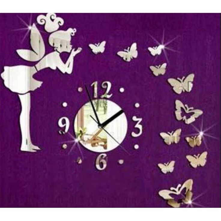 Cute Fairy & Butterfly Mirror Wall Clock for home Bedroom decoration DIY