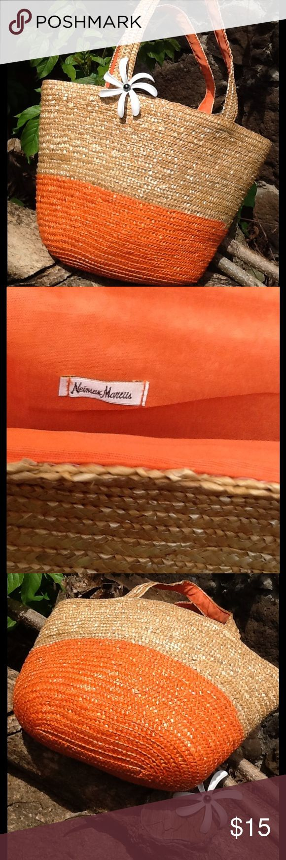 "☀️NEIMAN MARCUS Large Straw Orange Tote Bag ☀️This tote bag is in excellent condition with no visible signs of wear.  Beautiful woven straw tote bag with orange lining. Perfect beach, pool or to take use when shopping.  The strap drop is 9.5"".☀️ Neiman Marcus Bags Totes"