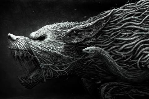 Tegninger i svart-hvitt varulver ulver