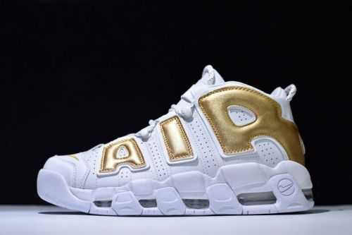83d2024e46a3 Newest Nike Air More Uptempo White Metallic Gold Mens Size Shoes For Sale -  ishoesdesign