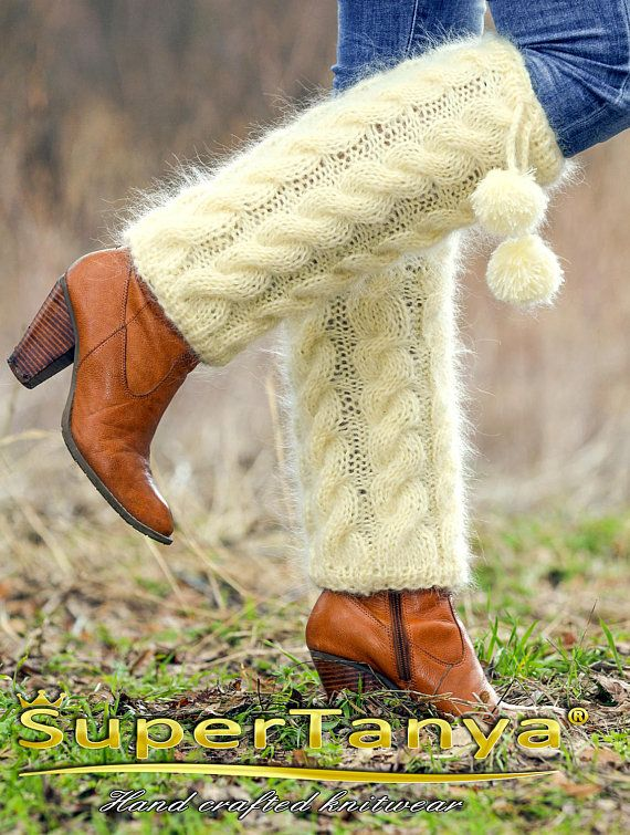Ivory cable knit mohair leg warmers / gaiters spats by