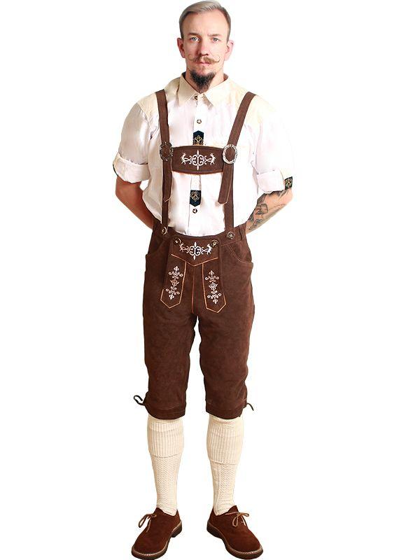 Brun lederhosen i skinn - Oktoberfest kostymer