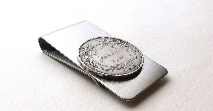Jordan, Money clip, Men's accessory, Men's gifts, Arabian, Coins, Men's wallet, Money, Coin money clip, Men's, Repurposed coin, Clips, 1974 by CoinStories on Etsy