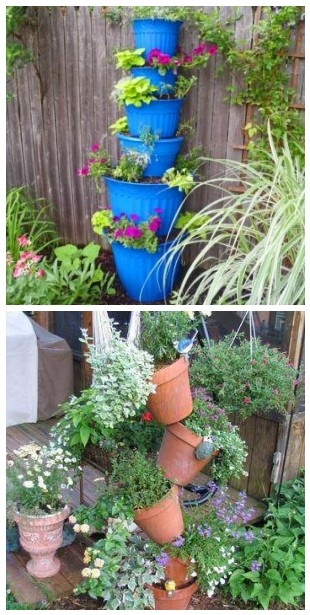 Tower Planters   2 Designs But Both Practical Feature Gardens For Small  Spaces. | The