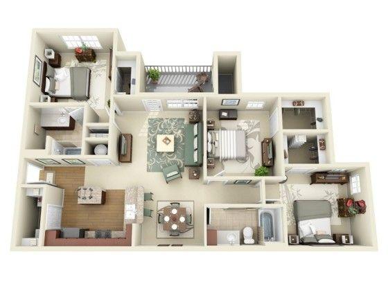 20 planos de departamentos de 3 habitaciones modernos for Disenos de departamentos modernos pequenos