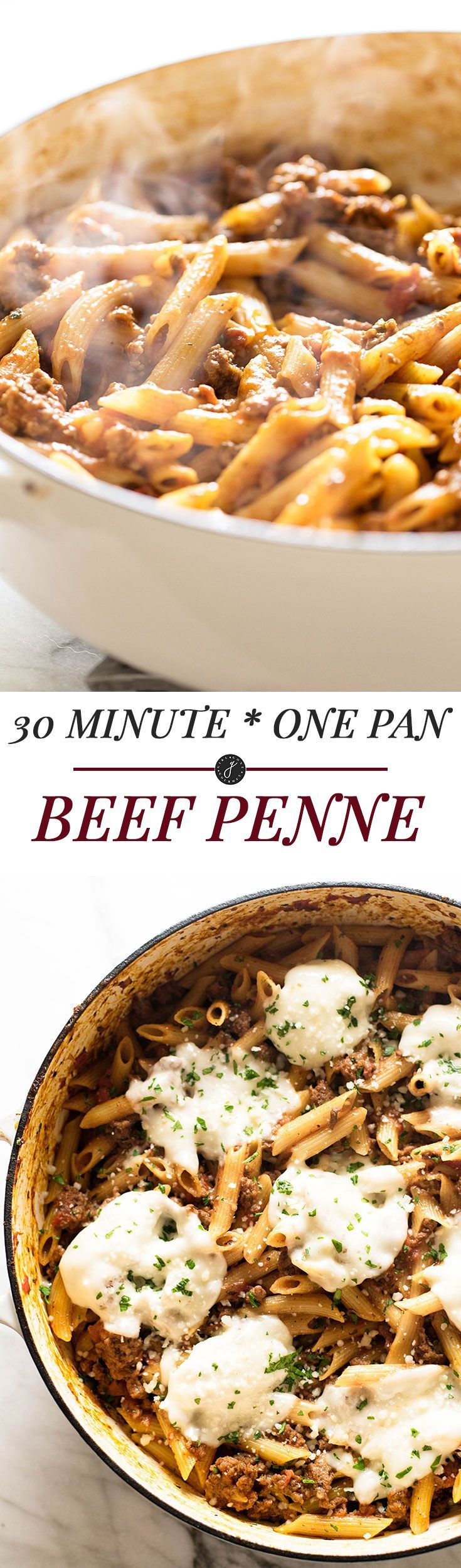 A quick and easy dinner! 30 Minute One Pan Beef Penne | girlgonegourmet.com