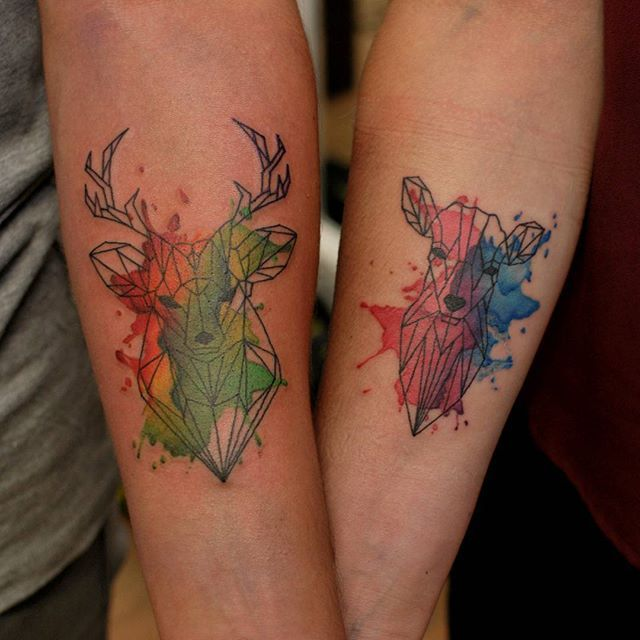Pin for Later: 30+ Matching Tattoos For Couples Who Are in It to Win It Watercolor Doe and Deer