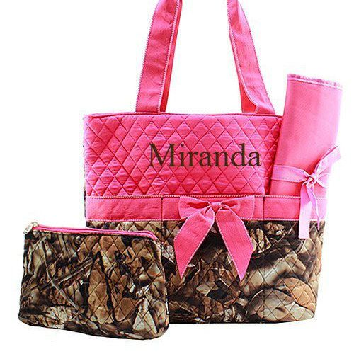 Check out this item in my Etsy shop https://www.etsy.com/listing/266549744/monogrammed-pink-camo-diaper-bag-diaper