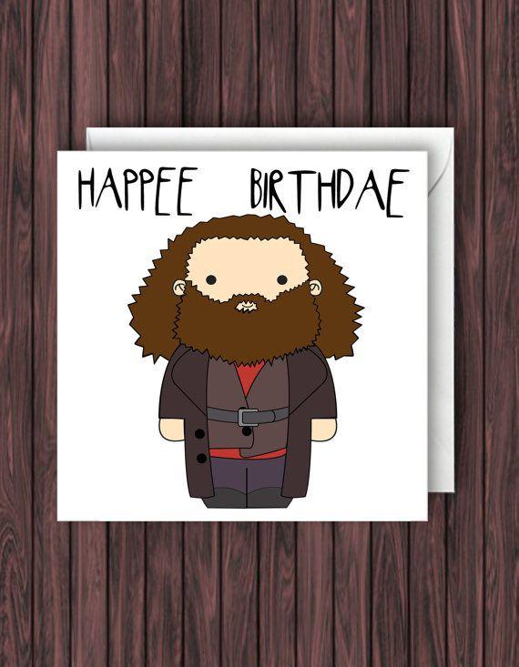 Happee Hagrid. Harry Potter Birthday Card. Geek Blank Card. Funny Greetings Card.