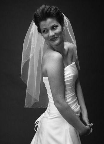 Veil trends V506 - Single Layer veil w/Swarovski detail edge   Available at Sash & Bustle Toronto  info@sashandbustle.com