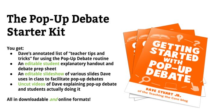 This Pay What You Want product is a smorgasbord of resources -- including editable documents, handouts, slides, and videos -- that I use to get students and teachers started with one of the lynchpins of my classroom argumentative culture: pop-up debate. What is Pop-Up Debate? When it comes to getting kids engaged in accountable, argumentative talk, I've come up with nothing better than the pop-up debate routine. I'm sure there are tons of other strategies and routines for argument out…