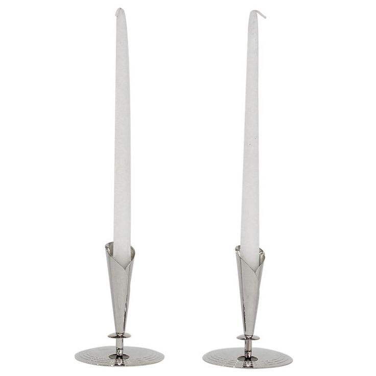 """Pair of Candle Holders by Tommi Parzinger  USA  1950's  Pair of nickel candle holders with iconic concentric circle design by Tommi Parzinger for Parzinger Originals, American 1950's (signed on bottom """"Dorlyn Silversmiths"""")"""