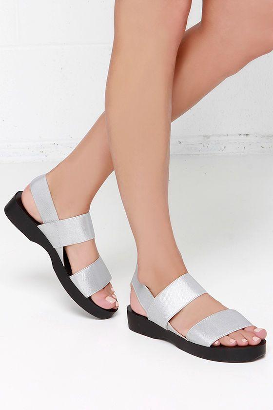 Report Signature Broc Silver Flat Sandals at Lulus.com!