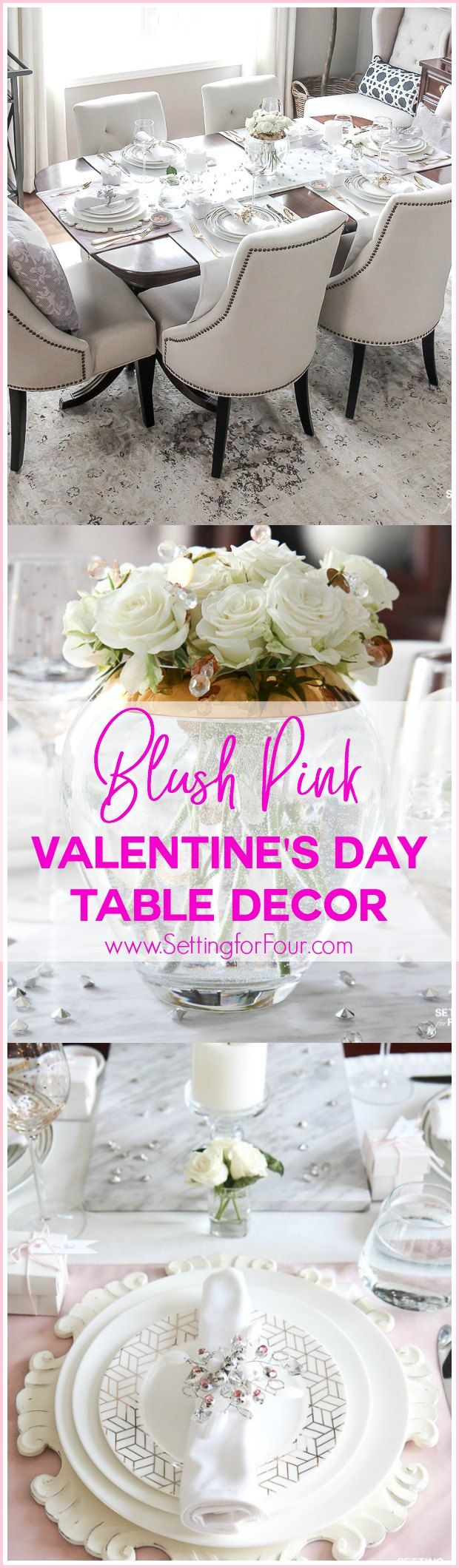 Blush Pink Valentines Day Table Decorations 140