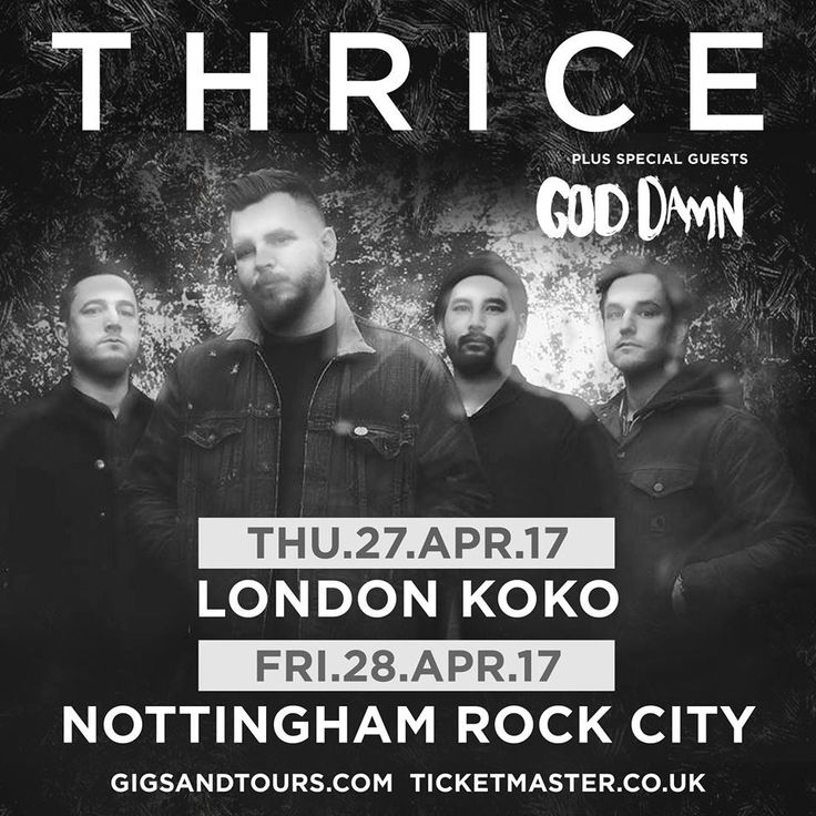 Heavy rock duo, God Damn, will support Thrice on their upcoming UK shows.  The band, who released their 'Everything Ever' album last year, will open for Thrice in London and Nottingham in April.  Tickets for the shows are on sale now, and you can see the dates below.  April 27 LONDON Koko 28