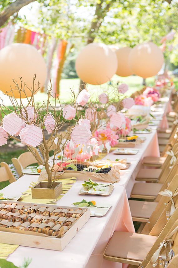 bridal shower themes for spring%0A Garden party table decoration  would be perfect for a butterfly baby shower  theme or any