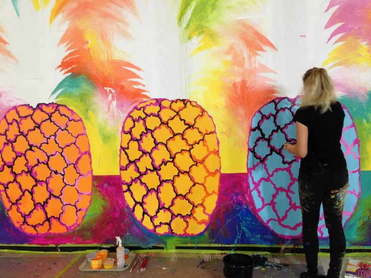 Pineapple Mural by Linzi Carter Art