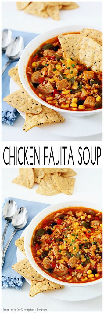 Chicken Fajita Soup - A delicious, comforting soup filled with all your favorite chicken fajita flavors! cinnamonspiceandeverythingnice.com