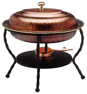 "16½"" x 12¾"" x 19"" Oval Antique Copper over S/S Chafing Dish, 6 Qt. traditional-serveware"