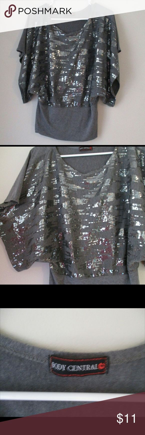 Body central top Shimmery in the front just grey in the back. Fitted at the bottom and lose at the top. Doesn't have a tag with size but I'd say it'd fit someone between a M and a L Body Central Tops Blouses