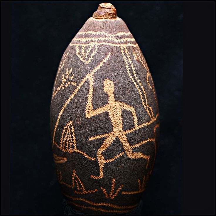 ABORIGINAL Kimberleys Incised Boab Nut Gourd with Human Hunter Figure & Kangaroo