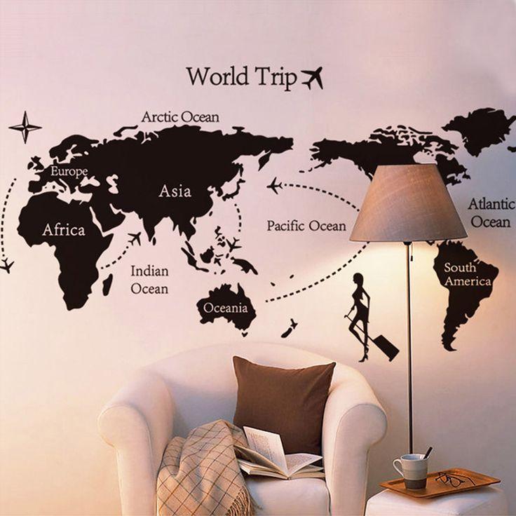 siyah diy oda çıkartma adesivo de Parede dünya haritası gezi basit duvar kağıdı duvar sticke çıkartmaları sanat dekor duvar çıkartmaları sticker