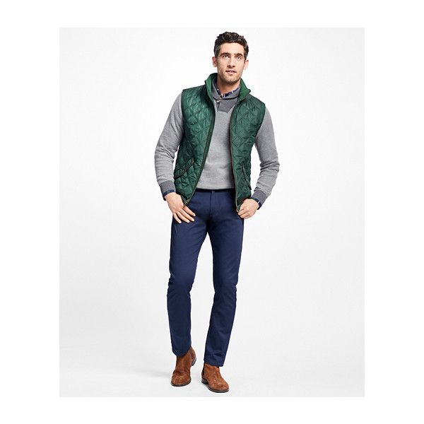 Brooks Brothers Diamond Quilted Vest (9,620 INR) ❤ liked on Polyvore featuring men's fashion, men's clothing, men's outerwear, men's vests, mens vest, mens diamond quilted vest, mens vest outerwear and mens quilted vest