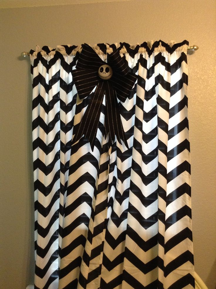 Simple black and white chevron curtains with a Jack Skellington bow in my Nightmare Before Christmas Nursery.