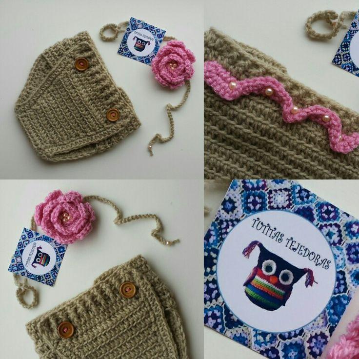 Conjunto cubrepañal y cintillo a crochet Tutitas Tejedoras <3