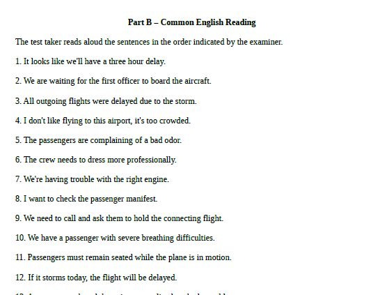 ICAO test prep part B common English reading PDF download