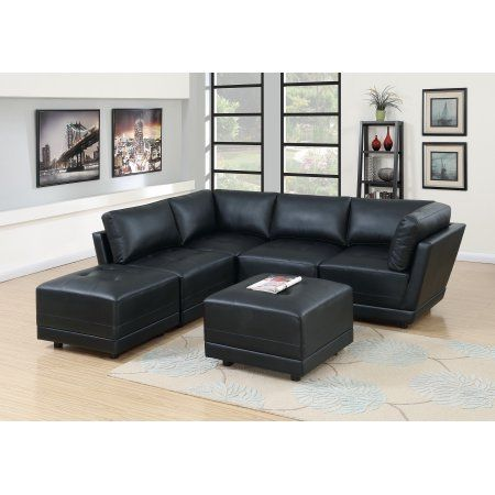 Living Room Furniture Black Bonded Leather Sectional Sofa 6pc Set